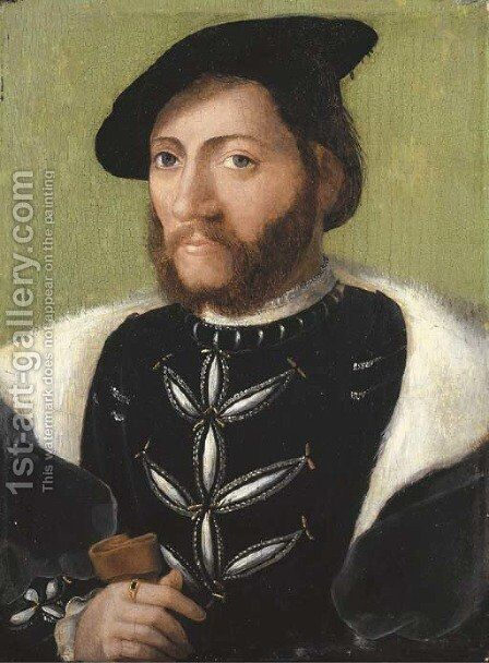 Portrait of a bearded gentleman by (after) Corneille De Lyon - Reproduction Oil Painting