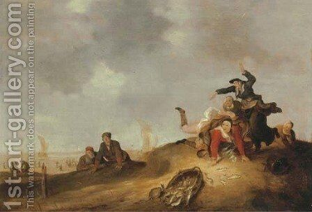 A coastal landscape with a fisherwoman tripping and spilling a basket of fish in the dunes by (after) Cornelis Beelt - Reproduction Oil Painting