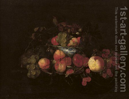 A silver plate with peaches and cherries by (after) Cornelis De Heem - Reproduction Oil Painting