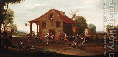 Soldiers fighting outside a tavern by (after) Cornelis De Wael - Reproduction Oil Painting