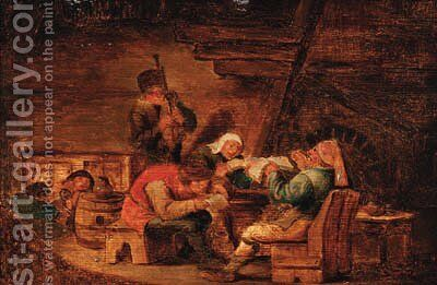 Peasants making music in a cottage by (after) Cornelis Dusart - Reproduction Oil Painting