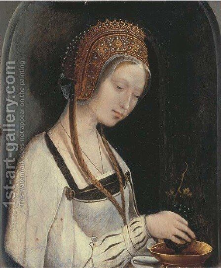 A female Saint by (after) Cornelis Engelbrechtsen - Reproduction Oil Painting