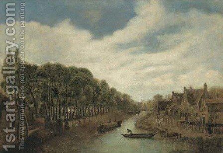 A river landscape with figures on a path by a village by (after) Cornelius Decker - Reproduction Oil Painting