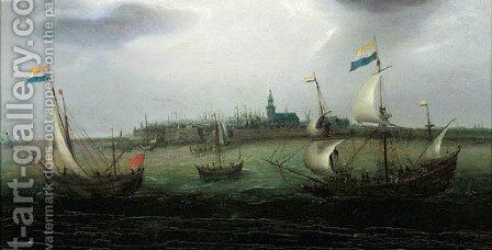 Shipping on the Schelde with Vlissingen in the distance by (after) Hendrick Cornelisz. Vroom - Reproduction Oil Painting