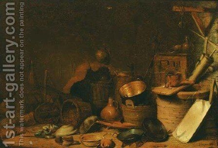 A kitchen interior with a well, pots, pans and baskets by (after) Cornelis Saftleven - Reproduction Oil Painting