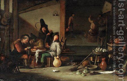 The interior of a tavern with peasants drinking around a table and by a fire by (after) Cornelis Saftleven - Reproduction Oil Painting