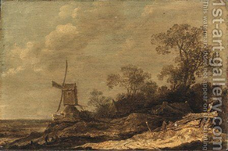 A dune landscape with figures conversing by a fence, a windmill and cottages beyond by (after) Cornelis Symonsz. Van Der Schalcke - Reproduction Oil Painting
