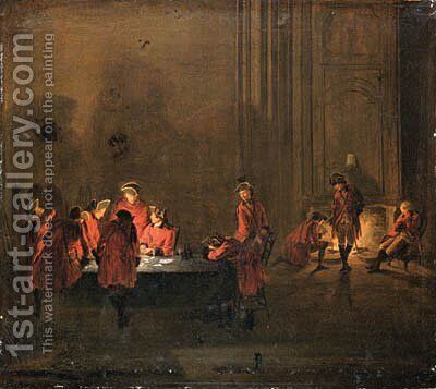 An interior with soldiers playing cards and resting by a fire by (after) Cornelis Troost - Reproduction Oil Painting