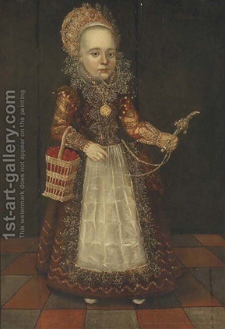 Portrait of a young girl by (after) Cornelis Van Der Voort - Reproduction Oil Painting