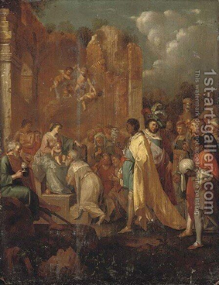 The Adoration of the Magi by (after) Cornelis Van Poelenburgh - Reproduction Oil Painting