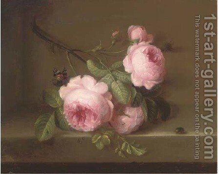 Roses on a ledge, a butterfly and a beatle by (after) Cornelis Van Spaendonck - Reproduction Oil Painting