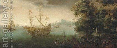 A coastal landscape with soldiers disembarking from a man-o'-war by (after) Cornelis Verbeeck - Reproduction Oil Painting
