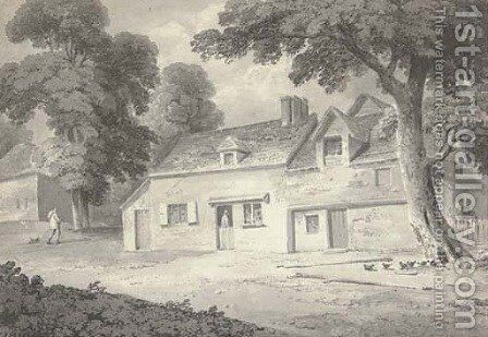 Old farm cottages by (after) Cornelius Varley - Reproduction Oil Painting