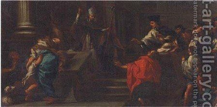 A bishop before a group of clerics by (after) Corrado Giaquinto - Reproduction Oil Painting