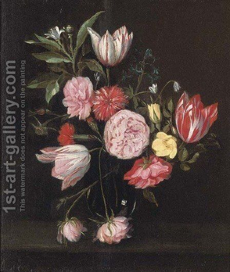 Parrot tulips, roses, carnations and other flowers in glass vase on a stone ledge by (after) Daniel Seghers - Reproduction Oil Painting
