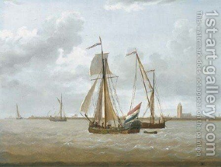 Shipping off the coast of the Zuyder Zee, a States Yacht raising its sails by (after) David Kleyne - Reproduction Oil Painting