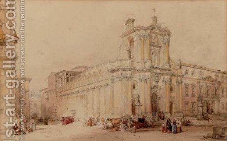 Cardinals and other figures in an Italianate square by (after) David Roberts - Reproduction Oil Painting