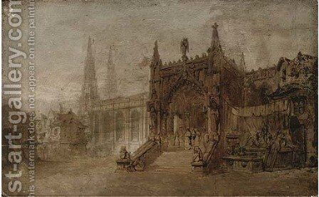 Figures leaving a cathedral by (after) David Roberts - Reproduction Oil Painting