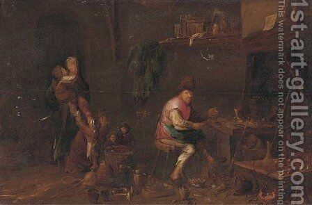 A peasant family in their workshop by (after) David Ryckaert III - Reproduction Oil Painting