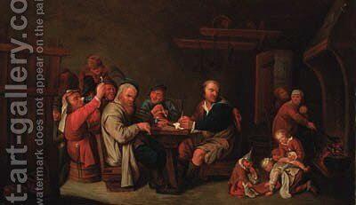 Peasants in a cottage interior by (after) David Ryckaert - Reproduction Oil Painting