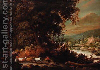 A wooded path with a peasant herding cattle, a river landscape beyond by (after) David Teniers I - Reproduction Oil Painting