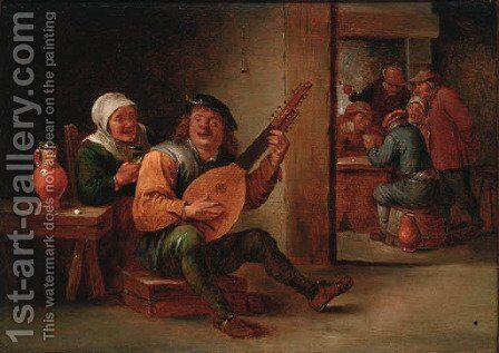 A boor playing a lute in an interior with a woman drinking at his side, peasants playing cards beyond by (after) David The Younger Teniers - Reproduction Oil Painting