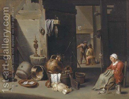 A farmhouse interior by (after) David The Younger Teniers - Reproduction Oil Painting