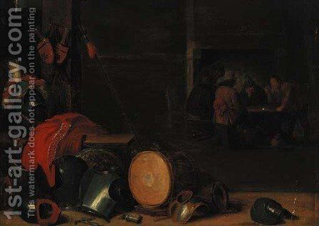 A guardroom interior by (after) David The Younger Teniers - Reproduction Oil Painting