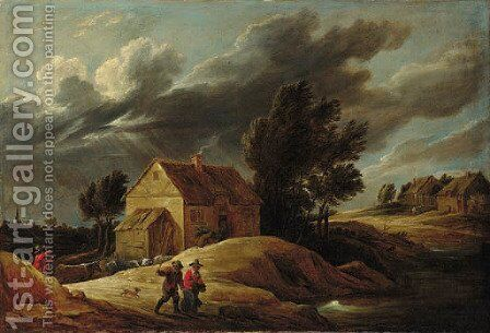 A Peasant couple on a path and a herdsman driving his cattle in a dune landscape, a town beyond by (after) David The Younger Teniers - Reproduction Oil Painting