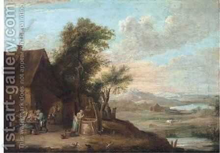 A river landscape with peasants smoking and drinking outside an inn, with a women getting water from a well by (after) David The Younger Teniers - Reproduction Oil Painting