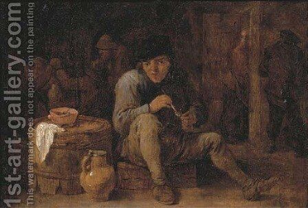 A seated peasant smoking in an interior, other figures in the background by (after) David The Younger Teniers - Reproduction Oil Painting