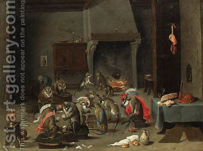A Tavern Interior with Monkeys playing Cards and Backgammon by (after) David The Younger Teniers - Reproduction Oil Painting
