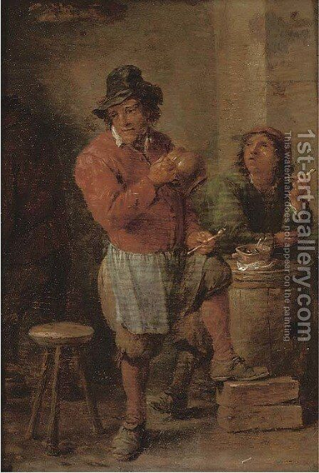 Boors smoking in a tavern by (after) David The Younger Teniers - Reproduction Oil Painting