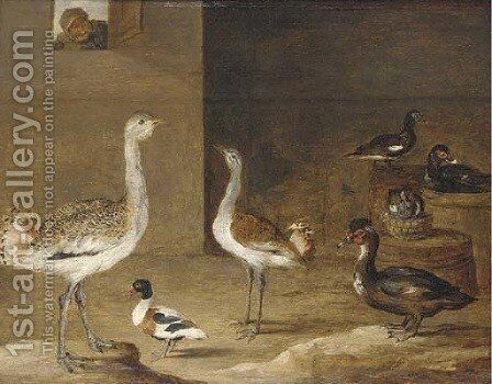 Fowl in a barn with a peasant at a window by (after) David The Younger Teniers - Reproduction Oil Painting