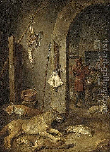 Huntsmen after the chase in an interior, with a hunting still life in the foreground by (after) David The Younger Teniers - Reproduction Oil Painting