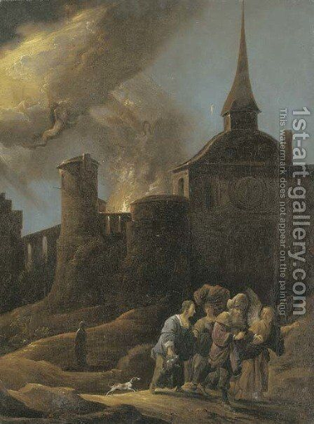 Lot and his Daughters fleeing from Sodom and Gomorrah by (after) David The Younger Teniers - Reproduction Oil Painting