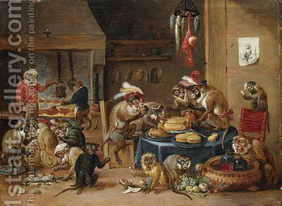 Monkeys preparing food in a kitchen by (after) David The Younger Teniers - Reproduction Oil Painting