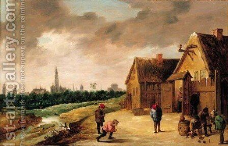 Peasants playing skittles beside a stream outside an inn, a view of Antwerp beyond by (after) David The Younger Teniers - Reproduction Oil Painting
