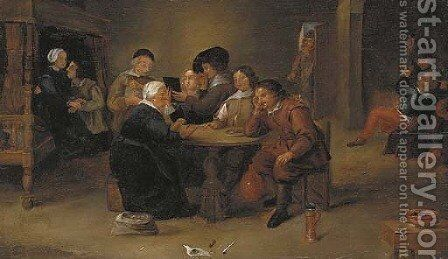 The interior of a brothel by (after) David The Younger Teniers - Reproduction Oil Painting