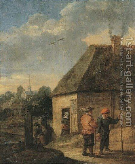 Travellers conversing outside an inn by (after) David The Younger Teniers - Reproduction Oil Painting