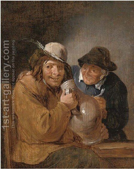 Two peasants smoking and drinking in an interior by (after) David The Younger Teniers - Reproduction Oil Painting