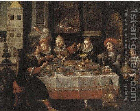 A banquet in an interior by (after) David Vinckboons - Reproduction Oil Painting