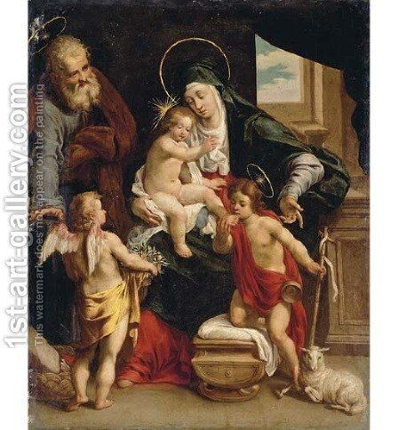 The Holy Family with the Young Saint John the Baptist and an Angel by (after) Denys Calvaert - Reproduction Oil Painting