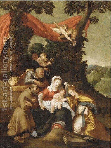 The Mystic Marriage of Saint Catherine by (after) Denys Calvaert - Reproduction Oil Painting