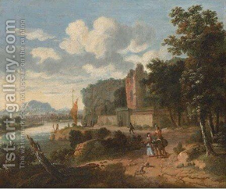 An extensive river landscape with figures on a track, ruins and a town beyond by (after) Dionys Verbrugh - Reproduction Oil Painting