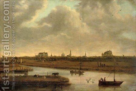 A view of Leiden with figures in boats in the foreground by (after) Dionys Verburg - Reproduction Oil Painting