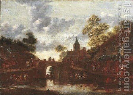A village landscape with figures in rowing boats on a river by (after) Dionys Verburgh - Reproduction Oil Painting