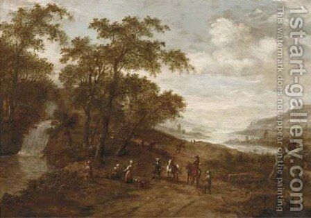 A wooded landscape with travellers by a waterfall, a river valley beyond by (after) Dionys Verburgh - Reproduction Oil Painting
