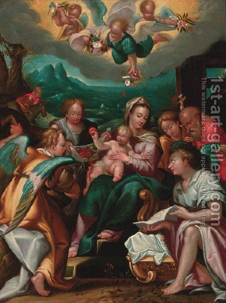 The Rest on the Flight to Egypt with angels and Saint Jerome by (after) Dionysius Calvert - Reproduction Oil Painting