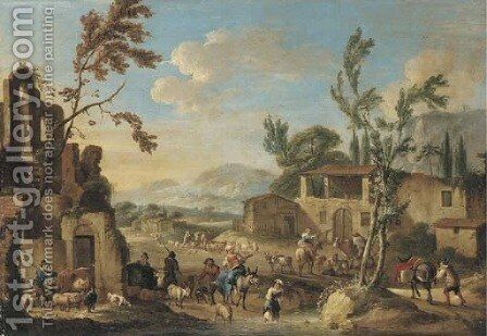 A village with peasants herding cattle, a mountainous landscape beyond by (after) Dirck Helmbreker - Reproduction Oil Painting